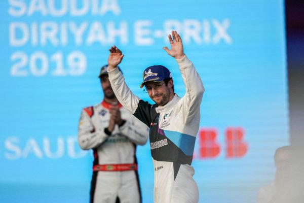 Race winner Alexander Sims (GBR) BMW I Andretti Motorsports celebrates on the podium