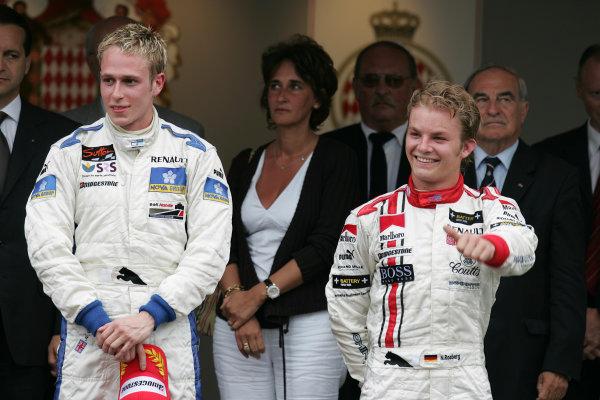 2005 GP2 Series - MonacoMonte-Carlo. 20th & 21st MaySaturday - RacePodium. 1st Adam Carroll (GB, Super Nova International). 3rd Nico Rosberg (D, ART GP). Portrait. Photo: GP2 Series Media Serviceref: Digital Image Only.