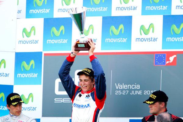 Round 3. Valencia, Spain. 27th June 2010.Sunday Race.Nico Muller, (Sui, Jenzer Motorsport) celebrates on the podium with Roberto Merhi, (ESP, Atech CRS GP) and James Jakes, (GBR, Manor Racing).Portrait. World Copyright: Glenn Dunbar/GP3 Media Service.Digital Image _G7C0772