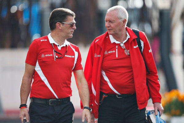 Autodromo Hermanos Rodriguez, Mexico City, Mexico. Friday 30 October 2015. John Booth, Team Principal, Manor F1, and Greame Lowdon, President and Sporting Director, Manor F1, in the Paddock. World Copyright: Charles Coates/LAT Photographic ref: Digital Image _J5R8544