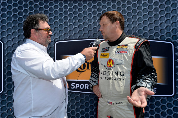 21-22 August 2015, Alton, Virginia USA 56, ST, Jeff Mosing, speaks with IMSA radio's John Hindhaugh  ?2014, Scott R LePage  LAT Photo USA