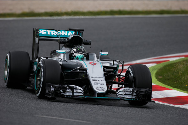Circuit de Catalunya, Barcelona, Spain. Tuesday 17 May 2016. Nico Rosberg, Mercedes F1 W07 Hybrid.  Photo: Sam Bloxham/LAT Photographic. ref: Digital Image _L4R1977