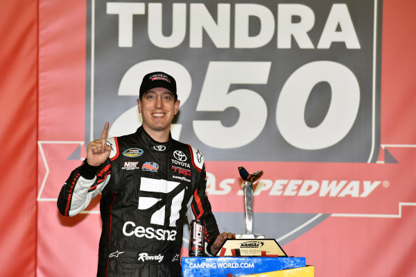 NASCAR Camping World Truck Series Toyota Tundra 250 Kansas Speedway, Kansas City, KS USA Friday 12 May 2017 Kyle Busch, Cessna Toyota Tundra celebrates his win in Victory Lane World Copyright: Nigel Kinrade LAT Images ref: Digital Image 17KAN1nk07187