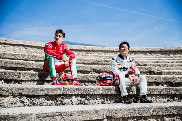 2017 FIA Formula 2 Round 3. Monte Carlo, Monaco. Wednesday 24 May 2017. Charles Leclerc (MCO, PREMA Racing), Nobuharu Matsushita (JPN, ART Grand Prix). Photo: Zak Mauger/FIA Formula 2. ref: Digital Image _54I4715