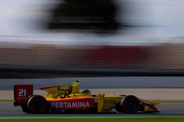 Circuit de Barcelona Catalunya, Barcelona, Spain. Monday 13 March 2017. Sean Gelael (INA, Pertamina Arden). Action.  Photo: Alastair Staley/FIA Formula 2 ref: Digital Image 580A0133