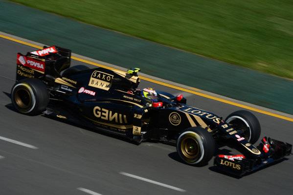 Pastor Maldonado (VEN) Lotus E23 Hybrid at Formula One World Championship, Rd1, Australian Grand Prix, Practice, Albert Park, Melbourne, Australia, Friday 13 March 2015.