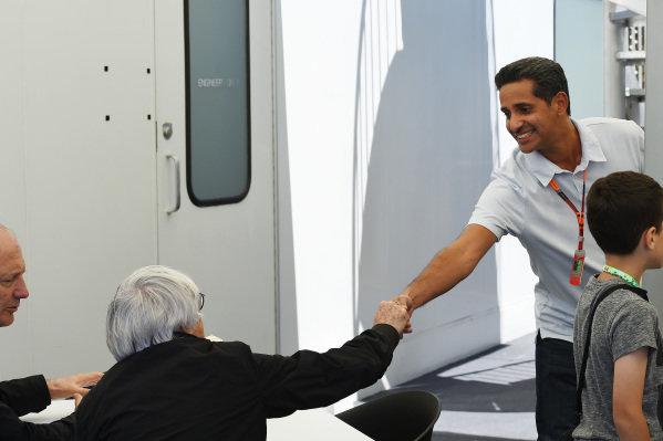 Bernie Ecclestone (GBR) CEO Formula One Group (FOM) and Shaikh Salman Bin Isa Al Khalifa (UAE), Chief Operating Officer Bahrain International Circuit at Formula One World Championship, Rd7, Canadian Grand Prix, Qualifying, Montreal, Canada, Saturday 6 June 2015.