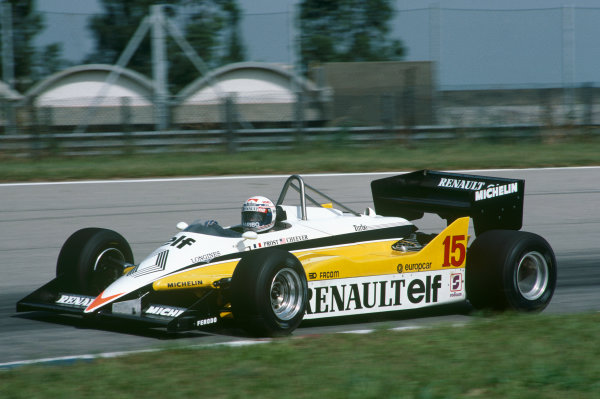 Jacarepagua, Rio de Janeiro, Brazil.11-13 March 1983.Alain Prost (Renault RE30C) 7th position, action. World Copyright: LAT Photographic.Ref:  83BRA33.