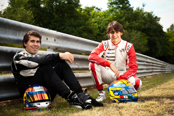 Round 6.Hungaroring, Budapest, Hungary. 29th July 2010. Thursday Preview.Robert Wickens, (CAN, Status Grand Prix) and Esteban Gutierrez, (MEX, ART Grand Prix) winners of races 9 and 10 in the GP3 series at Hockenheim. Portrait. World Copyright: Drew Gibson/GP3 Media Service. Digital Image _Y8P3615