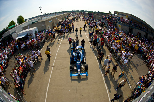 27 May, 2012, Indianapolis, Indiana, USAThe car of Rubens Barrichello (#8) is pushed out of Gasoline Alley to pit lane.(c)2012, F. Peirce WilliamsLAT Photo USA