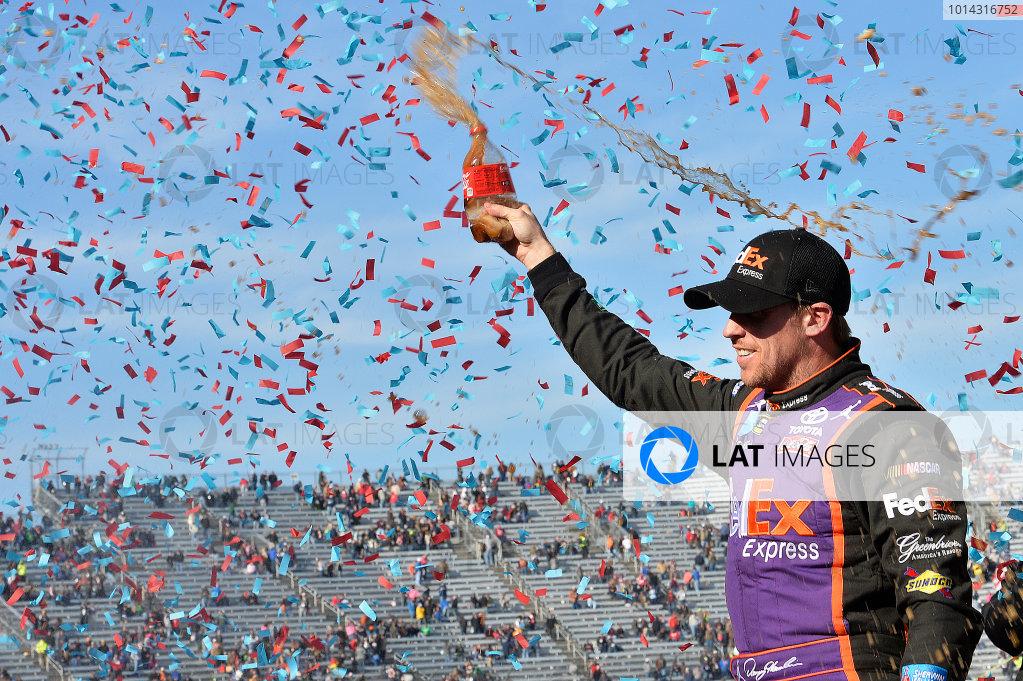 27-29 March, 2015, Martinsville, Virginia USA Denny Hamlin, FedEx Express Toyota Camry, celebrates in victory lane after winning the STP 500.  ?2015, John Harrelson / LAT Photo USA