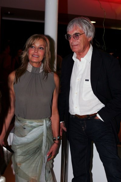 (L to R): Bo Derrick, actress with Bernie Ecclestone (GBR) F1 Supremo at the Fly Kingfisher Boat Party.