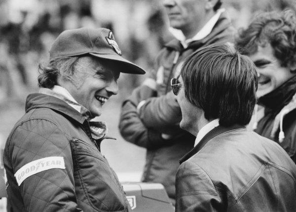 Zandvoort, Holland. 25th - 27th August 1978. Niki Lauda (Brabham BT46-Alfa Romeo), 3rd position talks to Bernie Ecclestone, portrait. World Copyright: LAT Photographic. Ref: B/W Print.