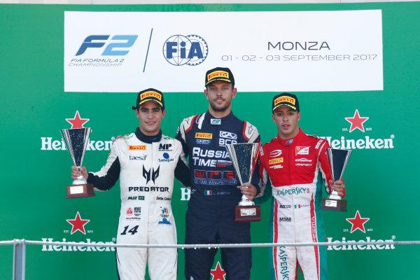 2017 FIA Formula 2 Round 9. Autodromo Nazionale di Monza, Monza, Italy. Sunday 3 September 2017. Sergio Sette Camara (BRA, MP Motorsport), Luca Ghiotto (ITA, RUSSIAN TIME), Antonio Fuoco (ITA, PREMA Racing).  Photo: Sam Bloxham/FIA Formula 2. ref: Digital Image _W6I4981