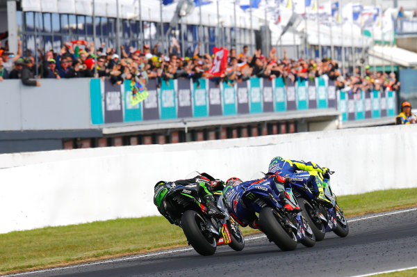 2017 MotoGP Championship - Round 16 Phillip Island, Australia. Sunday 22 October 2017 Valentino Rossi, Yamaha Factory Racing, Maverick Viñales, Yamaha Factory Racing, Johann Zarco, Monster Yamaha Tech 3 World Copyright: Gold and Goose / LAT Images ref: Digital Image 24376