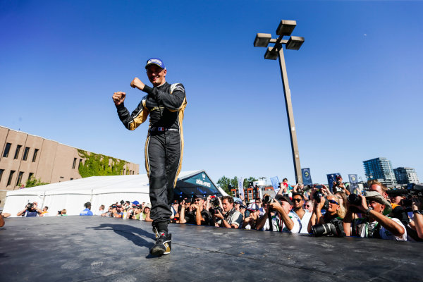 2016/2017 FIA Formula E Championship. Round 11 - Montreal ePrix, Canada Saturday 29 July 2017. Stephane Sarrazin (FRA), Techeetah, Spark-Renault, Renault Z.E 16, celebrates on the podium. Photo: Andrew Ferraro/LAT/Formula E ref: Digital Image _FER4369