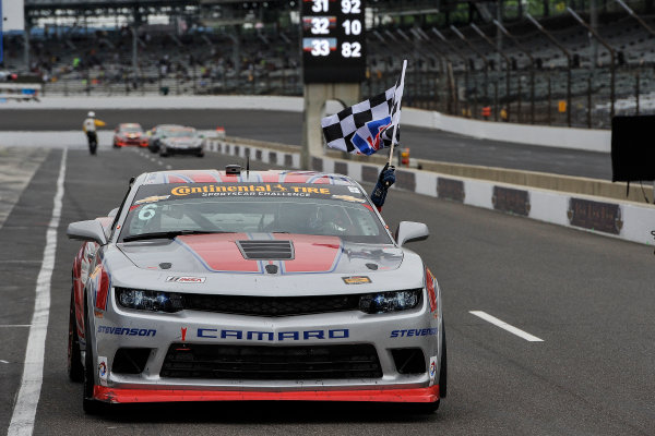 24-25 July, 2014, Indianapolis, Indiana USA 6, Camaro, GS.R, GS, Robin Liddell, Andrew Davis drives to Victory Lane with the VP flag ©2014, Scott LePage LAT Photo USA