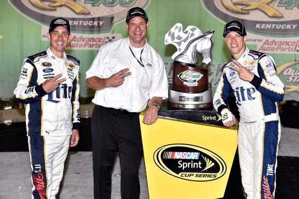 27-28 June, 2014, Sparta, Kentucky USA Brad Keselowski celebrates his win in Victory Lane with Pat DiMarco ?2014, Nigel Kinrade LAT Photo USA