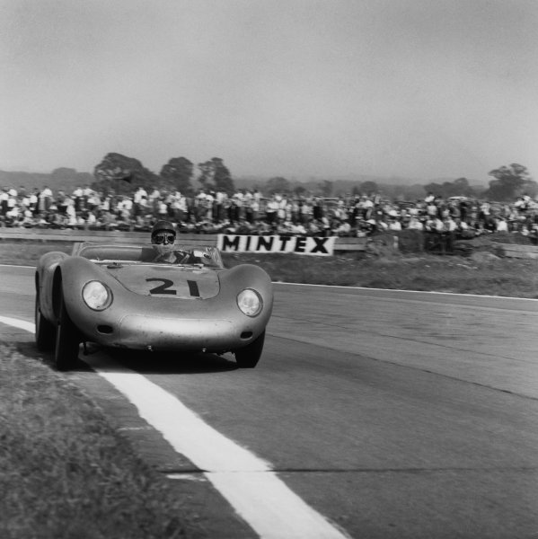 Goodwood, England. 13th September 1958.Jean Behra/Edgar Barth (Porsche 718 RSK), 4th position, action. World Copyright: LAT Photographic.Ref:  1415.