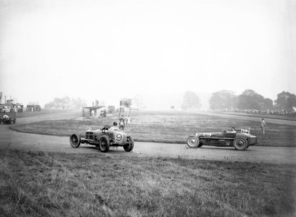 1935 Donington Grand Prix. 1935 Donington Grand Prix. Donington Park, Great Briain. 3 October 1935.Richard Shuttleworth (Alfa Romeo Tipo-B P3) leads Charlie Martin (Bugatti T59). They finished in 1st and 3rd positions respectively. Ref-C7565. World Copyright - LAT Photographic.