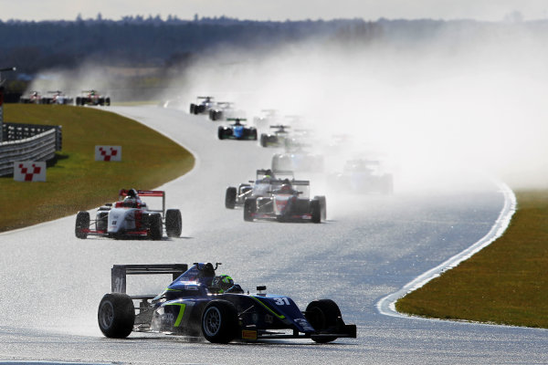 2016 BRDC British Formula 3 Championship, Snetterton, Norfolk. 27th - 28th March 2016. Start of Race 1 Lando Norris (GBR) Carlin BRDC F4 leads. World Copyright: Ebrey / LAT Photographic.