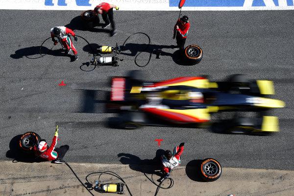 2016 GP2 Series Test 1. Circuit de Catalunya, Barcelona, Spain. Friday 11 March 2016. Antonio Giovinazzi (ITA, PREMA Racing), makes a pit stop World Copyright: Sam Bloxham/LAT Photographic. ref: Digital Image _L4R9614