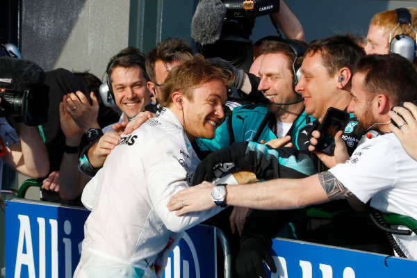 Albert Park, Melbourne, Australia. Sunday 20 March 2016. Nico Rosberg, Mercedes F1 W07 Hybrid celebrates with his team after winning the race. World Copyright: Steven Tee/LAT Photographic ref: Digital Image _H7I5918