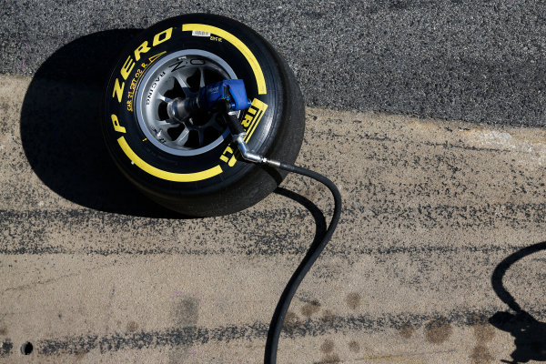 2016 GP2 Series Test 1. Circuit de Catalunya, Barcelona, Spain. Friday 11 March 2016. A Pirelli tyre, and wheel gun World Copyright: Sam Bloxham/LAT Photographic. ref: Digital Image _R6T9206