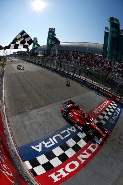 14 July, 2013, Toronto, Ontario, Canada Scott Dixon takes the checkered flag and second win of the weekend © 2013, Michael L. Levitt LAT Photo USA.