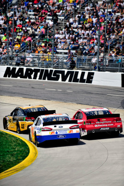 5-7 April, 2013, Martinsville, Virginia USA Jeff Burton, Ken Schrader and Ryan Newman ©2013, Nigel Kinrade LAT Photo USA