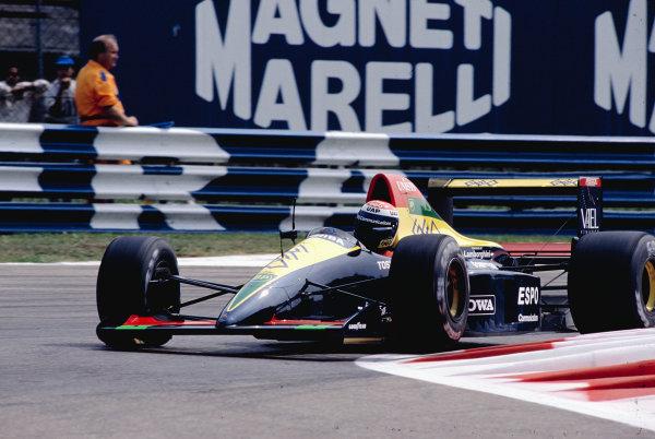 1990 Italian Grand Prix.Monza, Italy.7-9 September 1990.Eric Bernard (Larrousse/Lola 90 Lamborghini).Ref-90 ITA 23.World Copyright - LAT Photographic
