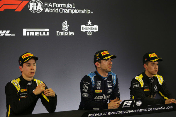 Jack Aitken (GBR, CAMPOS RACING), Nicholas Latifi (CAN, DAMS), and Guanyu Zhou (CHN, UNI VIRTUOSI), in the press conference