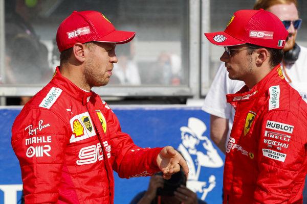 Sebastian Vettel, Ferrari, and pole winner Charles Leclerc, Ferrari