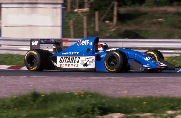 Michael Schumacher (GER) tests the Ligier JS39B Renault to evaluate the Renault V10 engine that will power his Benetton for the following season.