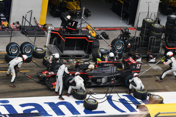 Arthur Pic (FRA) Rapax makes a pitstop at GP2 Series, Rd4, Spielberg, Austria, 1-3 July 2016.