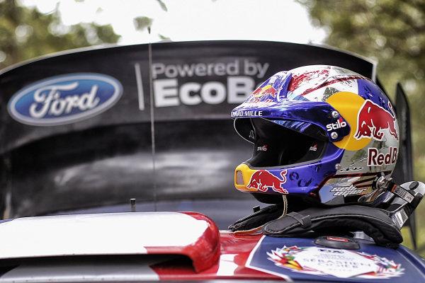 The helmet of Sebastien Ogier (FRA), M-Sport World Rally Team WRC at World Rally Championship, Rd13, Rally Australia, Day Two, Coffs Harbour, New South Wales, Australia, 18 November 2017.