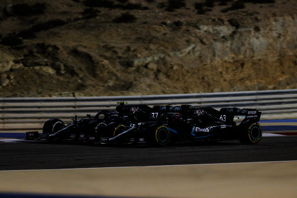 George Russell, Mercedes F1 W11 EQ Performance and Valtteri Bottas, Mercedes F1 W11 EQ Performance battle