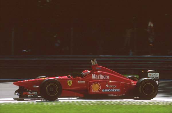 Monza, Italy.6-8 September 1996.Eddie Irvine (Ferrari F310) failed to finish after he hit the tyres at the first chicane, breaking his front suspension.Ref-96 ITA 18.World Copyright - LAT Photographic