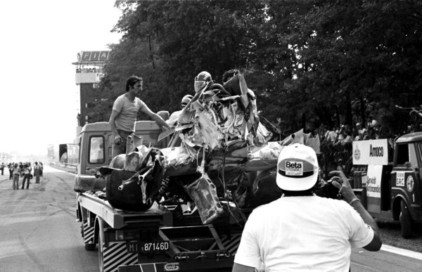 1978 Italian Grand Prix.Monza, Italy.8-10 September 1978.The wreckage of Ronnie Peterson's Lotus 78-Ford Cosworth is towed away after the accident which claimed his life.World Copyright - LAT Photographic
