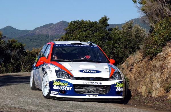 2002 World Rally ChampionshipInmarsat Corsica Rally, 8th-10th March 2002.Carlos Sainz during shakedown.Photo: Ralph Hardwick/LAT
