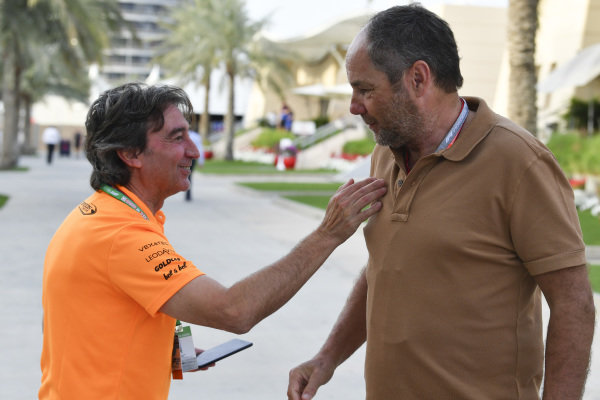 Adrian Campos and Gerhard Berger in the paddock