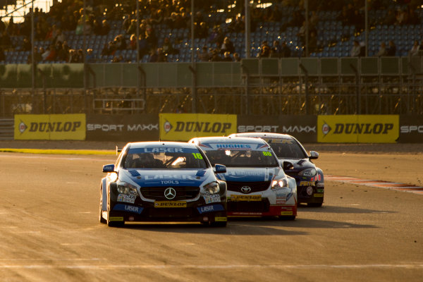 2015 British Touring Car Championship, Silverstone, Northamptonshire, England. 26th - 27th September 2015. Aiden Moffat (GBR) Laser Tools Racing Mercedes-Benz A-Class, Tom Ingram (GBR) Speedworks Motorsport Toyota Avensis and Andrew Jordan (GBR) Pirtek MG6 GT battle for position. World Copyright: Zak Mauger/LAT Photographic. ref: Digital Image _L0U4634