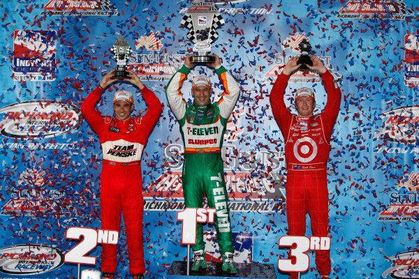 27-28 June, 2008, Richmond, Virginia USASecond place Helio Castroneves, third place Scott Dixon and winner Tony Kanaan celebrate©2008, Dan Streck, USALAT Photographic