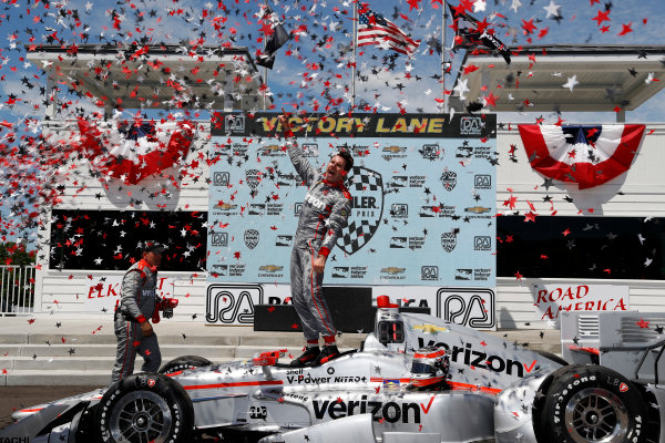 24-26 June, 2016, Elkhart Lake, Wisconsin, USA Will Power celebrates in victory lane ??2016, Michael Levitt LAT Photo USA