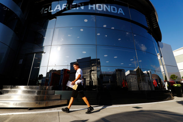 Hungaroring, Budapest, Hungary. Friday 22 July 2016. Fernando Alonso, McLaren, heads in to the McLaren motorhome with an Anti-doping leaflet from the drivers briefing. World Copyright: Steven Tee/LAT Photographic ref: Digital Image _H7I2316