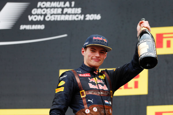 Red Bull Ring, Spielberg, Austria. Sunday 03 July 2016. Max Verstappen, Red Bull Racing, 2nd Position, with his Champagne on the podium. World Copyright: Glenn Dunbar/LAT Photographic ref: Digital Image _V2I4538