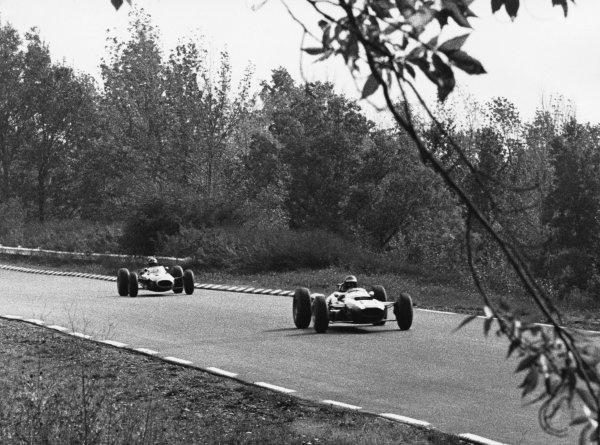 Watkins Glen, United States. 3rd October 1965.Jochen Rindt, Cooper (T77-Climax), 6th position, action.World Copyright: LAT PhotographicRef: b&w print
