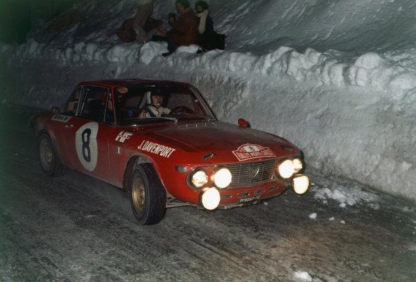 Monte Carlo, Monaco. 16th - 24th January 1970.Simo Lampinen/John Davenport (Lancia Fulvia 1 6 CoupŽ HF), retired, action. World Copyright: LAT Photographic.Ref: 70MCRALLY36.