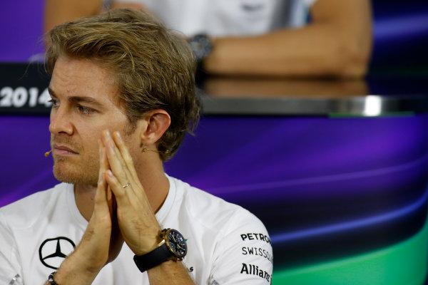 Interlagos, Sao Paulo, Brazil. Thursday 6 November 2014. Nico Rosberg, Mercedes AMG, in the Drivers Press Conference. World Copyright: Glenn Dunbar/LAT Photographic. ref: Digital Image _89P9498