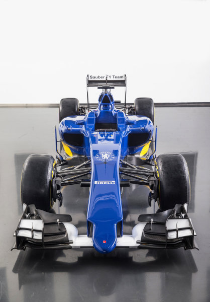 Sauber C34 Reveal. Hinwil, Switzerland. Friday 30 January 2015. The Sauber C34-Ferrari. Photo: Sauber F1 Team (Copyright Free FOR EDITORIAL USE ONLY) ref: Digital Image 20150130_Sauber_C34-Ferrari_Front_Top